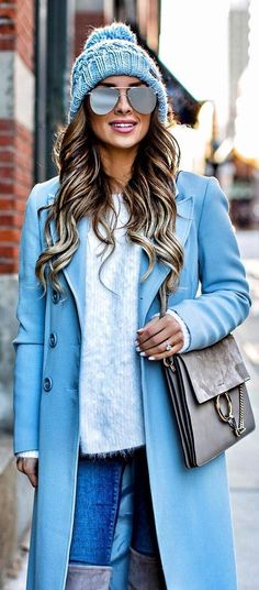 #winter #fashion /  Blue Beanie / Blue Coat / Light Blue Wool Knit / Grey Shoulder Bag