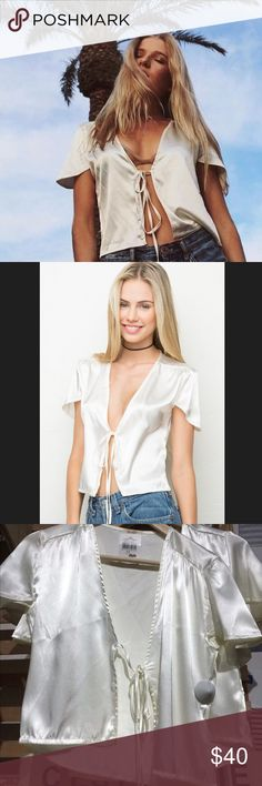 NWT Brandy Melville White Leesa Top NWT Brandy Melville Rare No Longer Sold Front Tie Silk Leesa Top in White Brandy Melville Tops