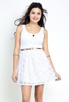 Lace Flare Dress W/ Belt | Shop Day Dresses at Papaya Clothing