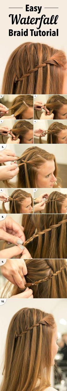 Easy waterfall braid tutorial.