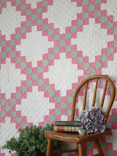 "Cottage Charm! Vintage 1930s Pink & Green Irish Chain QUILT 84"" x 65"""