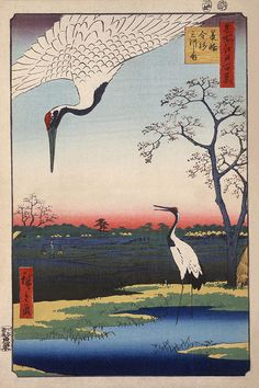 Hiroshige: Minowa, Kanasugi, Mikawashima, Ukiyo-e print with two cranes. Color woodcut by Ando Hiroshige. 102 in the series Meisho Yedo Hiakkei (One Hundred Famous Views of Edo). Stretched Canvas Prints, Framed Art Prints, Painting Prints, Fine Art Prints, Poster Prints, 4k Photography, Canvas Painting Landscape, Art Asiatique, Kunst Poster