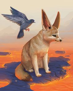 Fennec fox sitting near lava with a pigeon - animal commission piece by Paula Lucas Lucas Arts, Fennec Fox, Pigeon, Lava, Mists, Corgi, Challenges, Fun, Animals