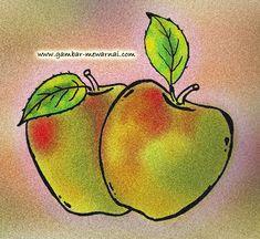 Contoh Mewarnai Gambar Buah Apel