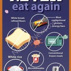 Here are 10 foods you should never eat again for optimum health. Full graphic at: http://www.naturalnews.com/Infographic-Ten-Foods-to-Never-Eat-Again.html