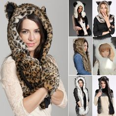 Material: Faux Fur7 Colors available: White+ Gray, White + Black, Brown, Leopard, Gray, White, Brown + grayLength: approx. 90cmHat circumference: approx. 80cmSize: one size fit most.Style: AnimalsAnimal hat, they make great gifts and a great way to be uniquely different!This animal hat can keep warm during the cold day anytime.This multi-function fashion hat is fun and warm for the head, neck, and hands.The paws have inserts that can be used as mittens or pockets, while the arms can be used…