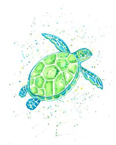 Bright blue and green sea turtle limited by GoCoastalStudio