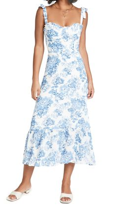 REFORMATION Nikita Floral Printed Blue Dress - We Select Dresses Pastel Floral, Floral Prints, Summer Dresses, Vacation Dresses, Blue Dresses, Reformation Clothing, China Fashion, Feminine Style, Warm Weather