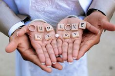 Super cute! Use Scrabble tiles to write out names, and mix with wedding bands to make the letter O. - Beautiful Muslim Wedding by Engaging Images