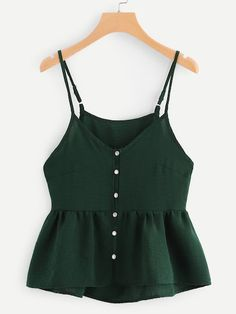 To find out about the Single Breasted Solid Cami Top at SHEIN, part of our latest Tank Tops & Camis ready to shop online today! Teen Fashion Outfits, Look Fashion, Outfits For Teens, Summer Outfits, Men Fashion, Fashion Ideas, Feminine Fashion, Fashion Clothes, Korean Fashion