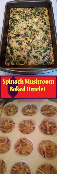 Spinach Mushroom Baked Omelet - MY Delish Food Healthy Eating Recipes, Healthy Meal Prep, Healthy Snacks, Vegan Vegetarian, Vegetarian Recipes, Pork Recipes, Cooking Recipes, Australian Food, Canadian Food