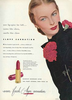 The more I think about it, the more clove scented lipstick appeals to me. #vintage #1950s #makeup #ad