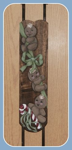 Hand Painted Gingerbread Man Wooden Sled Wall by PaintYourPoochand, $19.99