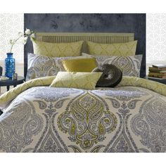 - Elizabeth Hurley Lamara Bedding: Lamara from Elizabeth Hurley's latest bedding collection combines navy and chartreuse in a stunning paisley & scroll design against an off white base to create a stylish, elegant and classy colour combination. Elizabeth Hurley, Single Duvet Cover, Duvet Cover Sets, Kylie Minogue At Home, Paisley Bedding, Beige Bed Linen, Yellow Bedding, Blue Bedroom, Master Bedroom