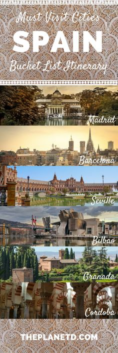 Places in Spain that you absolutely have to visit for their charm, culture and beauty. Bucket list cities for your trip to Spain including Madrid, Barcelona, Seville, Granada, Toledo and more. Best of travel in Europe. | Blog by The Planet D