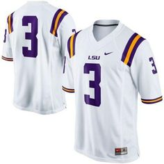 LSU Tigers #3 White Embroidered NCAA Jersey prices USD $21.50 #cheapjerseys #sportsjerseys #popular jerseys #NFL #MLB #NBA