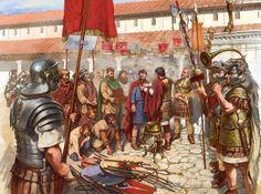 Встреча в Карнунте посольства германских племён во главе с Балломаром (вождь маркоманов) с римским наместником Паннонии Марком Бассом, 167 год н.э. На рисунке запечатлён момент, когда Басс в качестве ответного дара прикалывает на плащ Балломара искусной работы фибулу.