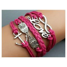 Anchor -Love- Infinity -Owls Bracelet Hot Pink wax cord Hot Pink Braided Leather Antique Silver Cute Personalized Jewelry Wholesale ($7.99) found on Polyvore