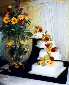 Image detail for -Tropical display on wedding cake.