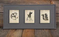 Bambi, Thumper, Flower Inspired Silhouettes: (3) 8X10 Art Prints, With Heart Studios - Disney, Nursery, Gift, Vintage, Poster on Etsy, $50.00