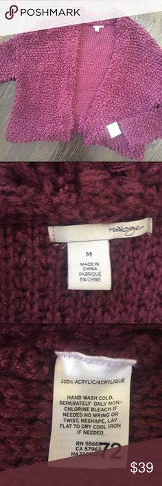 """Halogen Purple Cardigan Sweater Cute cardigan sweater by Halogen. Color is called """"purple nectar"""", which is purple with just a hint of burgundy. No closure. New with tag. Size Medium. Halogen Sweaters Cardigans"""