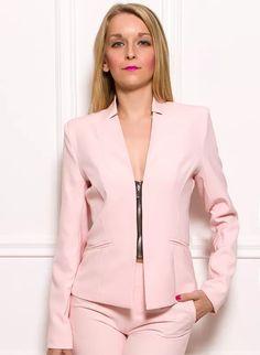 Dámské elegantní sako na zip - světle růžová