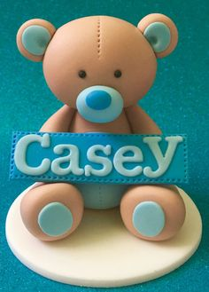 Edible 3d fondant TEDDY BEAR cake topper. First by SugarPopLane