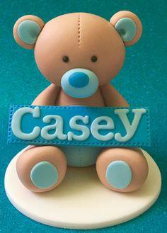 Edible 3d fondant TEDDY BEAR cake topper. First by SugarPopLane