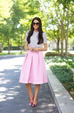 Full Midi Skirt In Pink 2017 Street Style