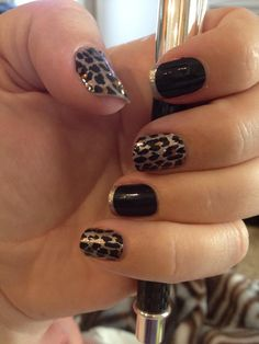 Gilded Leopard and Little Black Dress (long tips).  Love the combination of these 2.  Marlenelang.jamberrynails.net.