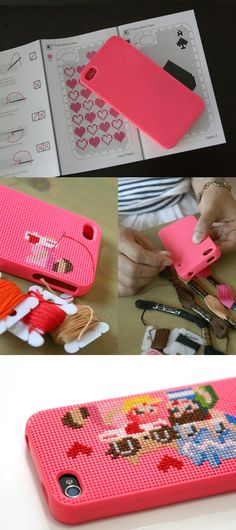 DIY iPhone case with cross stitching. I don't have an iPhone, but this is neat!