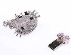 Newdigi? 32GB Hello Kitty Crystal Jewelry USB Flash Memory Drive Necklace