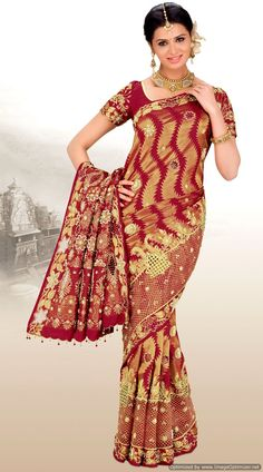 Maroon and light khaki Indian banarasi saree