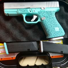 "Glock in Tiffany Blue & silver cerakote coating with ""moonrock"" stippling and other custom work done by Tyler at DCFGuns Glock Girl, Best Concealed Carry, Conceal Carry, Custom Glock, Custom Guns, Cool Guns, Guns And Ammo, Firearms, Arsenal"