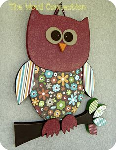 "Wooden #Owl... made this in different colors for my new granddaughter's ""Owl Themed"" nursery. So fun!"