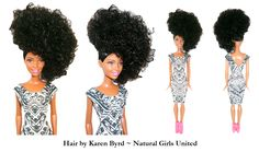 Doll with side curly ponytail
