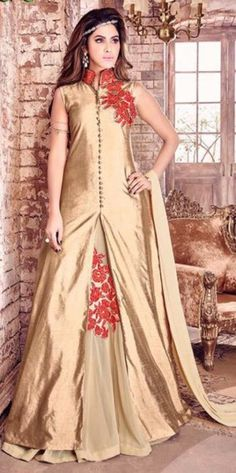 Golden Embroidered Work Anarkali Suit With Silk Material