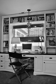 Build in desk like this in study, but instead of window, hang flat screen on wall. Wood not white.