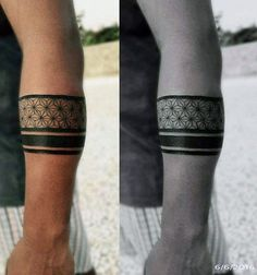 Pattern Male Black Band Tattoo On Forearm