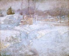 """""""Winter,"""" John Henry Twachtman, ca. 1891, oil on canvas, 21.63 x 26.63"""", Phillips Collection."""