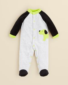 Offspring Infant Boys' Dog Velour Footie - Sizes 3-9 Months | Bloomingdale's
