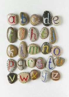 Painted rocks, alphabet