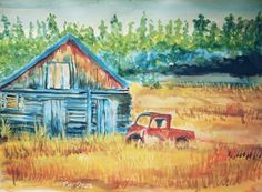 Farm house   Acrylic on paper by Reb Daza