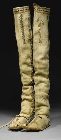 APACHE PAINTED HIDE HIGH TOP MOCCASINS.  I would wear these, please!  Denim dress, me thinks!