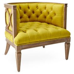 Check out this item at One Kings Lane! Waltz Tufted Accent Chair, Chartreuse