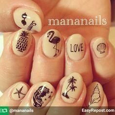 Palm trees, flamingos, pineapple,  starfish,  sea shells and mermaids mani