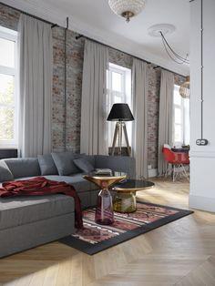Фото из статьи: Квартира с угловой планировкой для матери и сына в европейском…