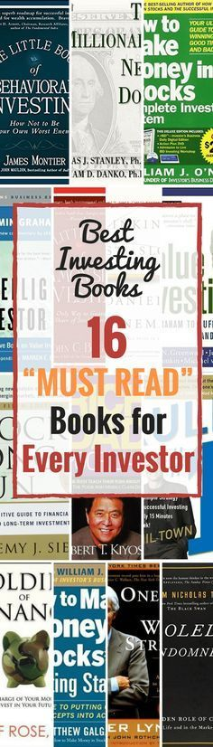 What investment books should every potential investor read?   See this list of the best books on investing including:   How to make money in stocks, Intelligent Investor, Value Investing, The Millionaire Next Door and more.   Take charge of your money and invest in your future by discovering the best books from the most popular authors who will help you understand the in's and out's of the investing world.