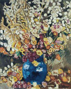 Blue Vase of Flowers.  Louis Valtat
