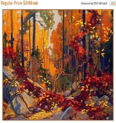 """Autumn's Garland"" - by member of the Group of Seven Canadian painters, Tom Thomson. Emily Carr, Canadian Painters, Canadian Artists, Landscape Art, Landscape Paintings, Canada Landscape, Forest Landscape, Watercolor Landscape, Oil Paintings"